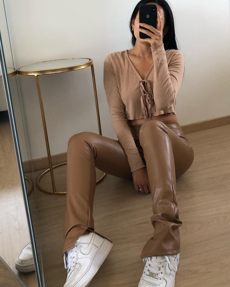 Fashion-Click Split Legging Leatherlook Camel