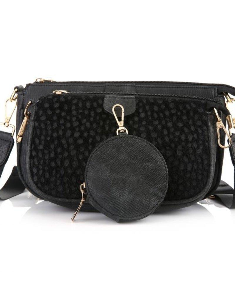 Fashion-Click Multi Tas Pochette Chetaah Black