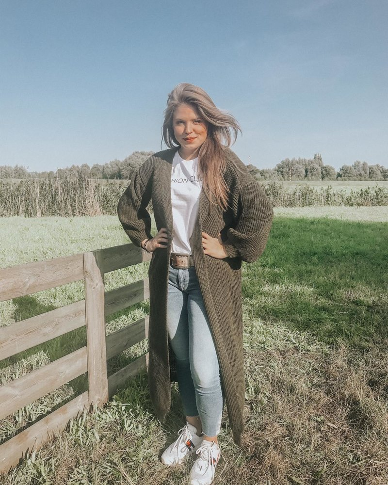 Fashion-Click Lang Vest Army Groen