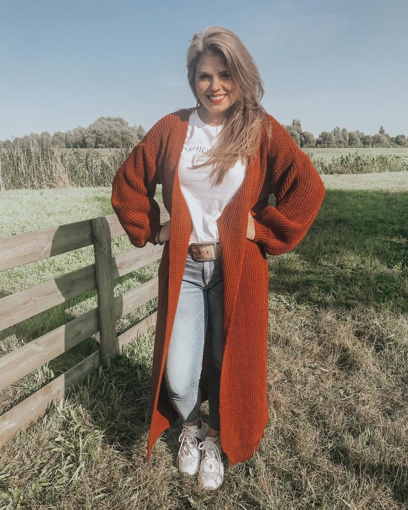Fashion-Click Lang Vest Roest Bruin