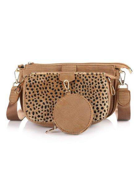 Fashion-Click Multi Tas Pochette Chetaah Bruin