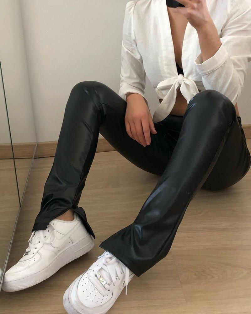 Fashion-Click Split Legging Leatherlook Zwart