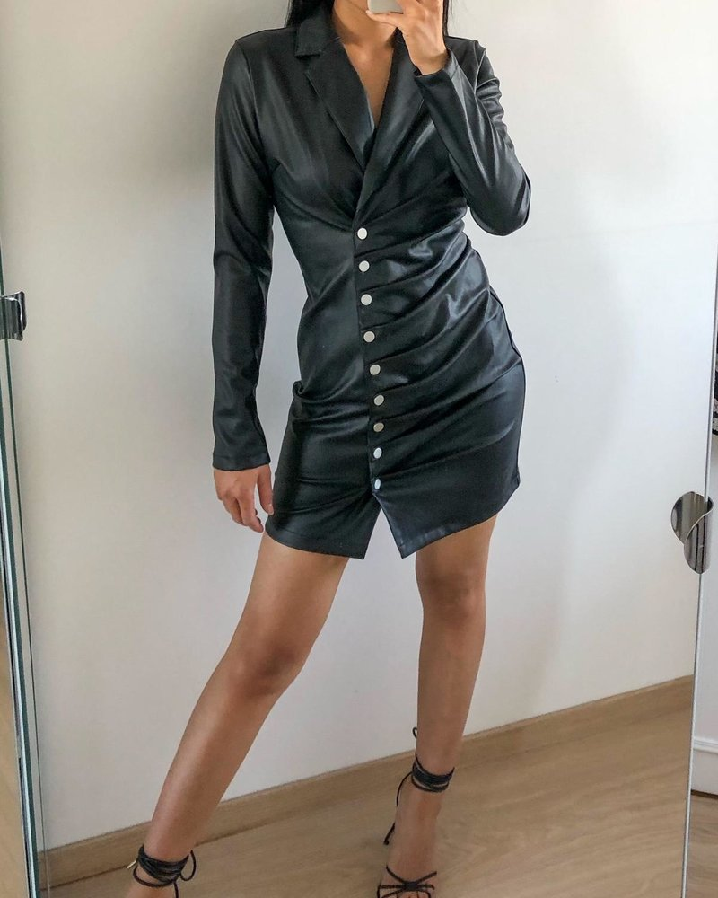 Fashion-Click Jurkje Leatherlook Buttons