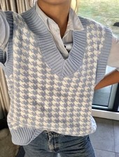 Fashion-Click Pied De Poule Knit Spencer Blue