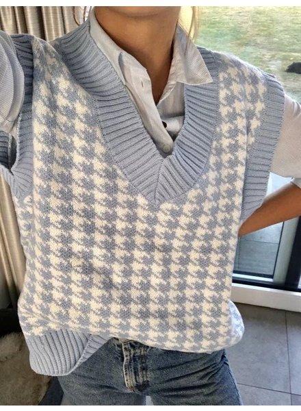 Fashion-Click Pied De Poule Knit Spencer Blue