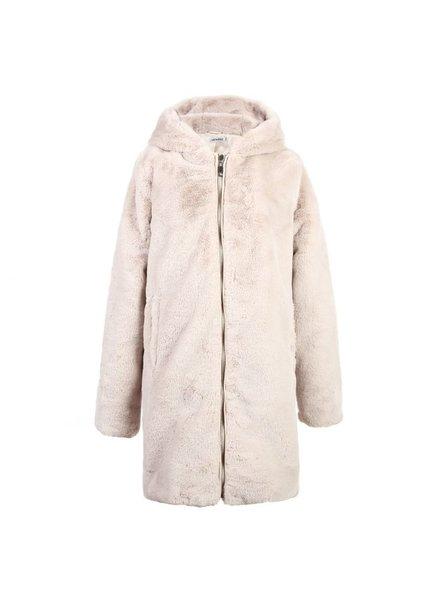 Fashion-Click Jas Furry Capuchon Beige