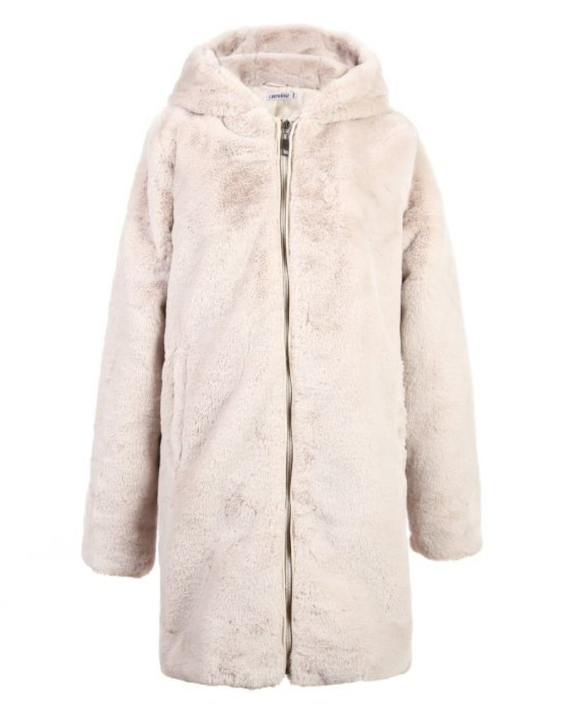 Fashion-Click Jas Furry Capuchon Beige