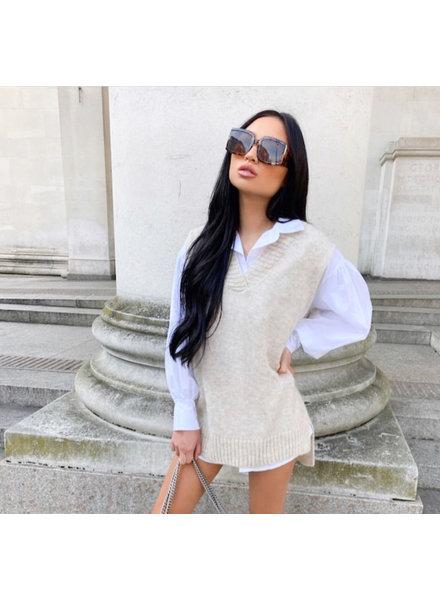 Fashion-Click Knit Spencer Beige