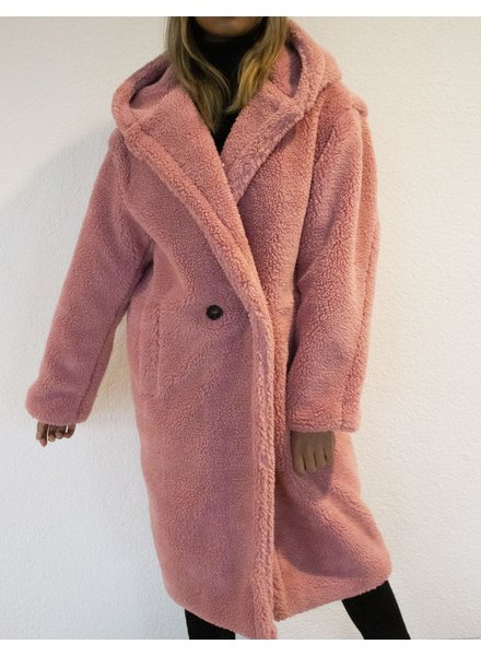 Fashion-Click Jas Teddy Capuchon Roze