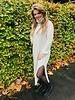 Fashion-Click Knit Col Jurk Maxi Split Beige