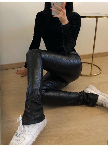Fashion-Click Split Legging Croco Leatherlook Zwart