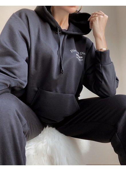 Fashion-Click Hoodie Die For It Zwart