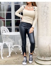 Fashion-Click Front Split Legging Leatherlook Zwart