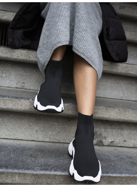 Fashion-Click Sock Sneakers Evy Zwart
