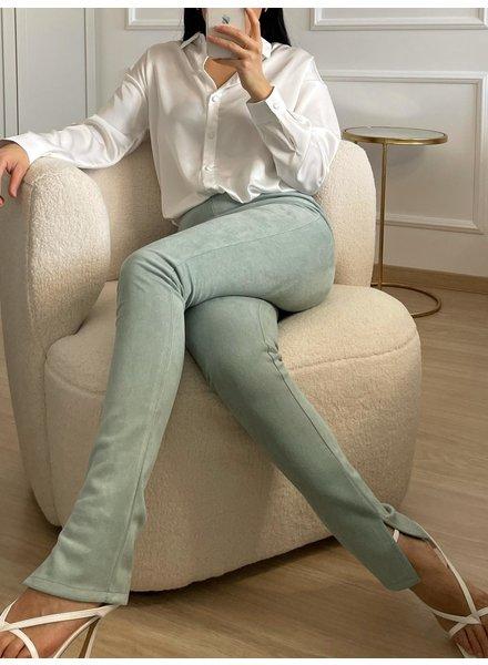 Fashion-Click Split Legging Suedine Mint