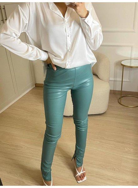 Fashion-Click Split Legging Leatherlook Groen