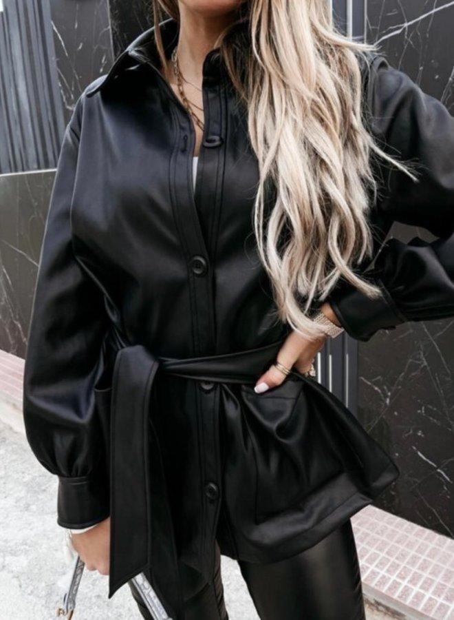 Blouse Jasje Leatherlook Zwart