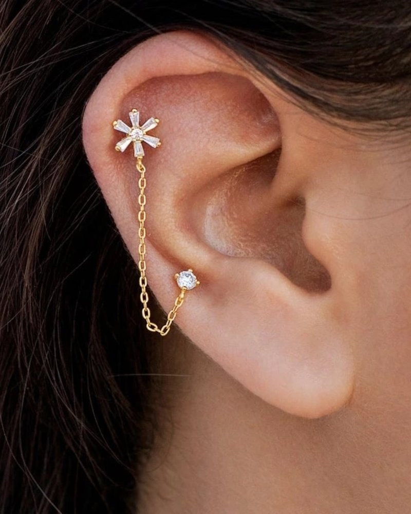 Fashion-Click Oorbel Flower & Zircon Chain