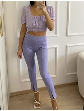 Fashion-Click Front Split Legging Suedine Lilac