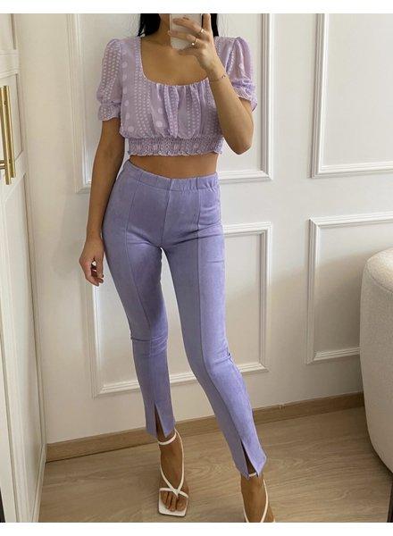 Fashion-Click Front Split Legging Suedine Lilac