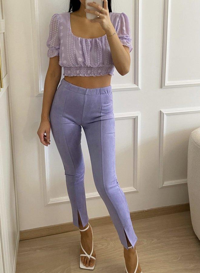 Front Split Legging Suedine Lilac
