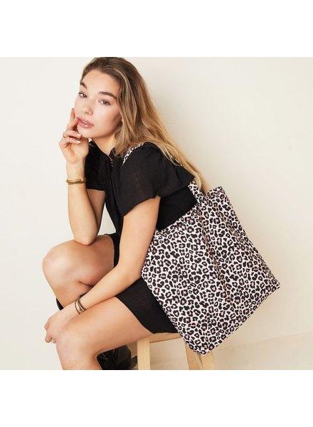 Fashion-Click Canvas Tas  Leopard Pink