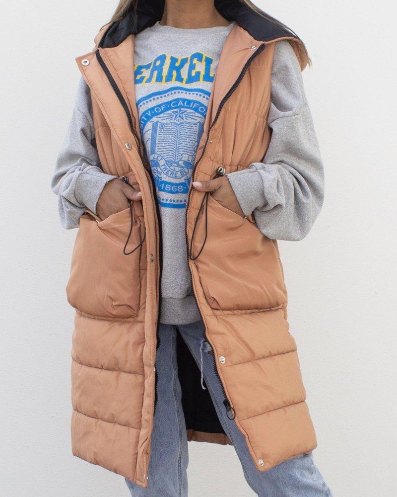 Fashion-Click Lange Bodywarmer Terracotta
