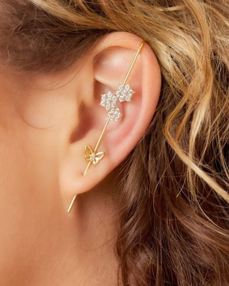 Fashion-Click Ear Crawler Zircon Flowers Vlinder