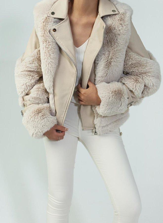 Jas Leather Furry Beige
