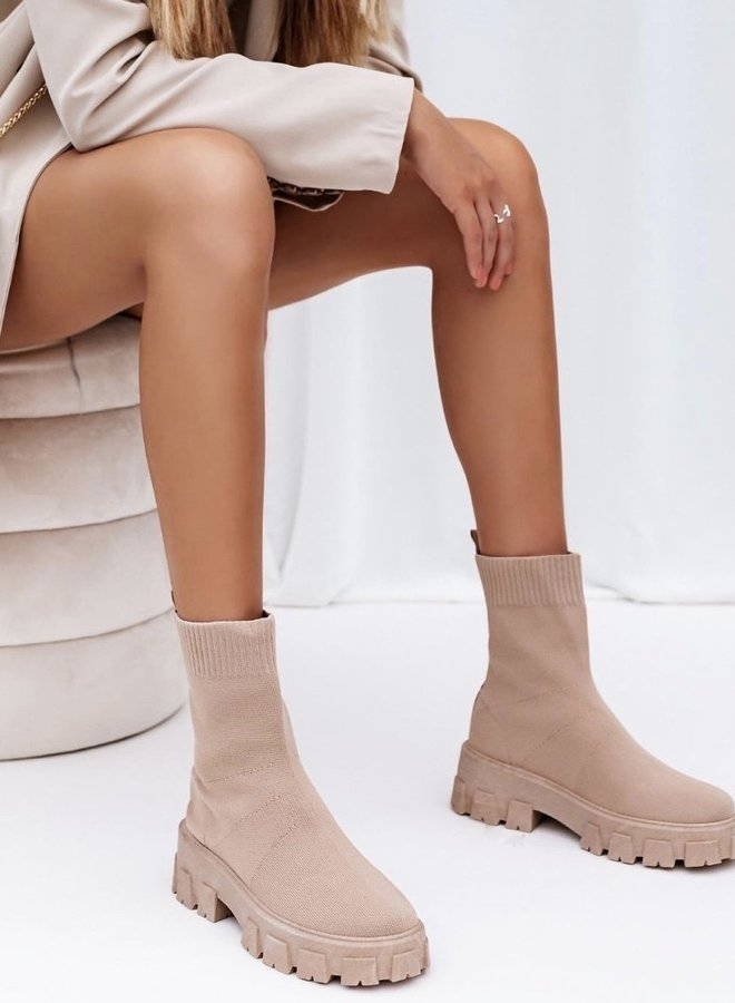 Sock Boots Beige