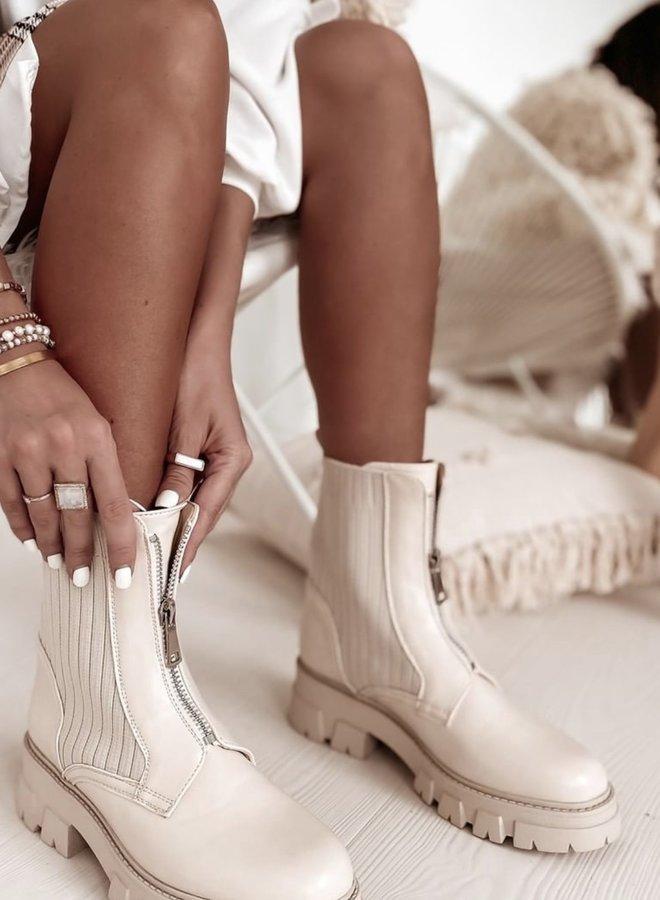 Stacey Zipper Boots Beige