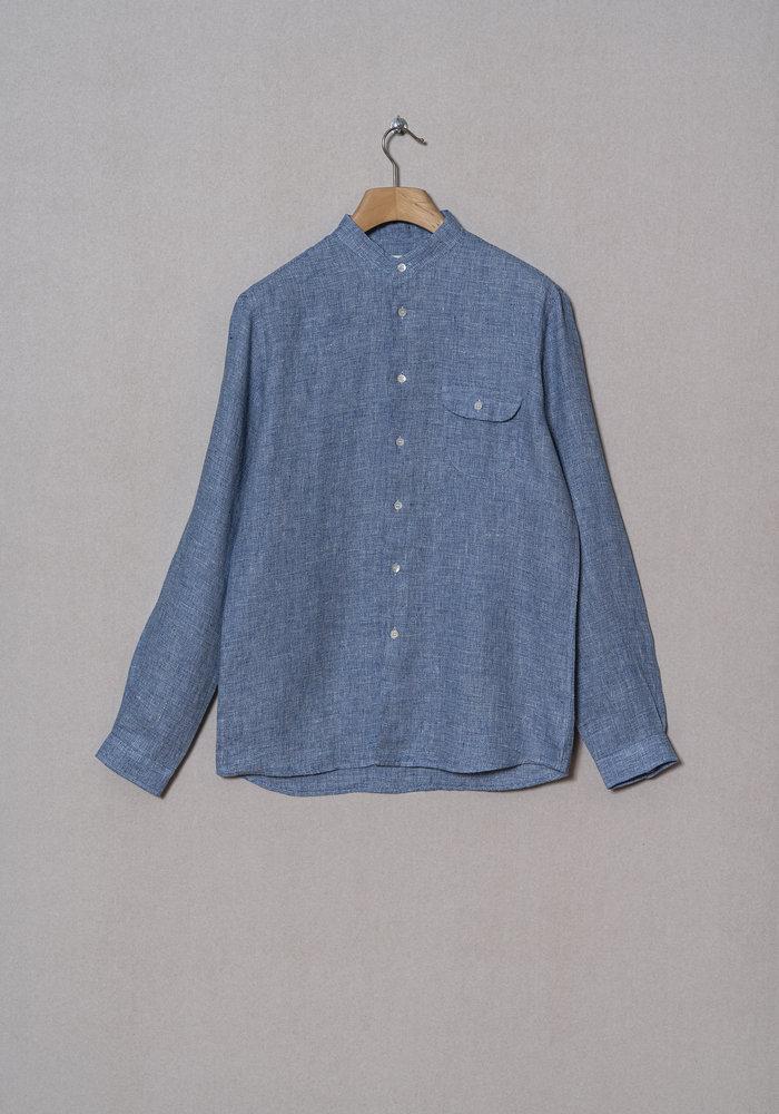 VIEIRA BLUE MICRO linen shirt