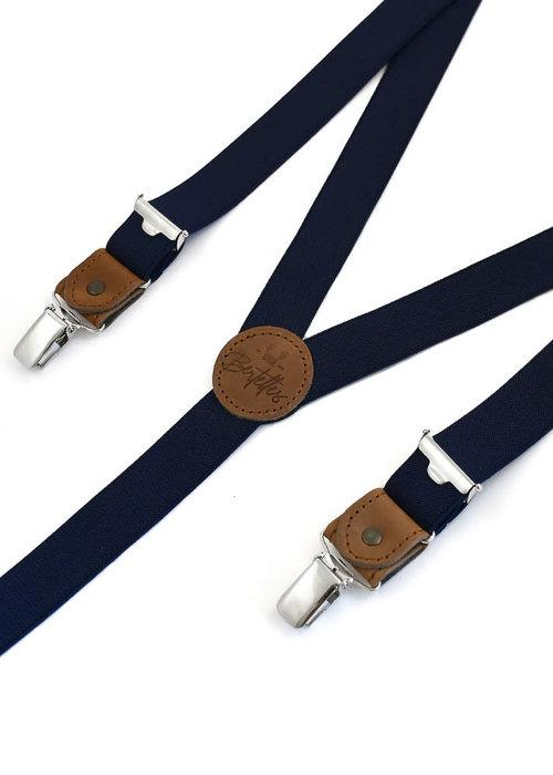 Bretelles Thin clip on braces with cognac leather details