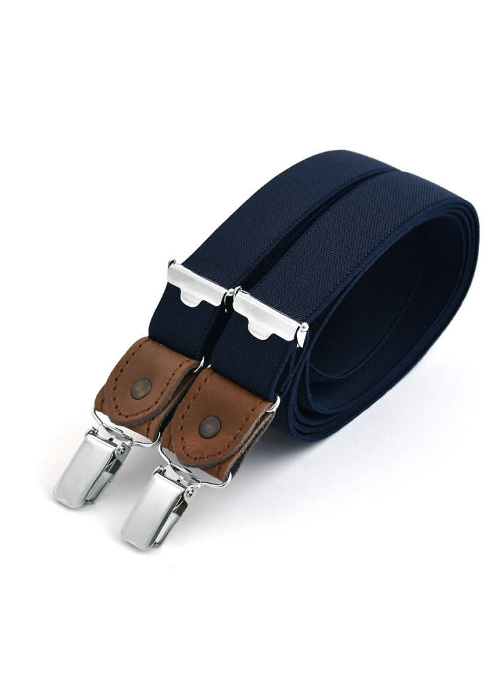 Thin clip on braces with cognac leather details