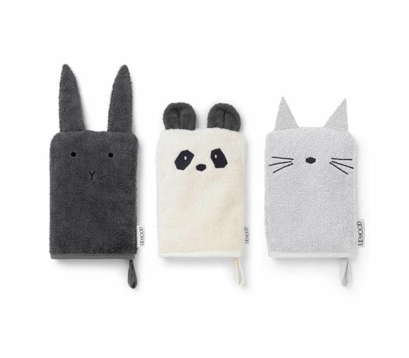 Washandjes 3 Pak Konijn-Panda-Kat (grijs)