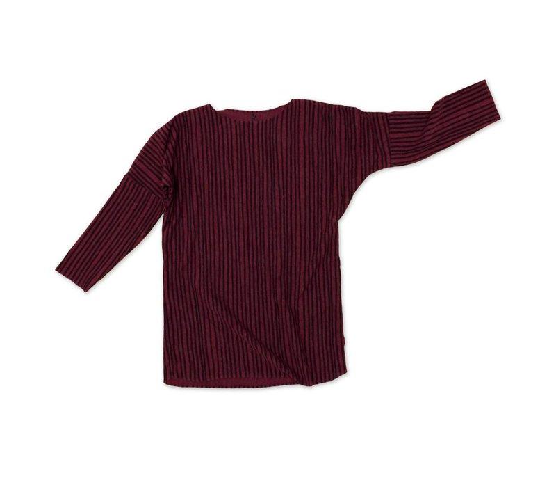 Tee Dress Donker rood met zwarte streep
