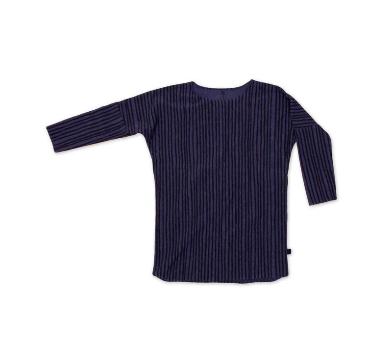 Tee Dress Blauw met zwarte streep