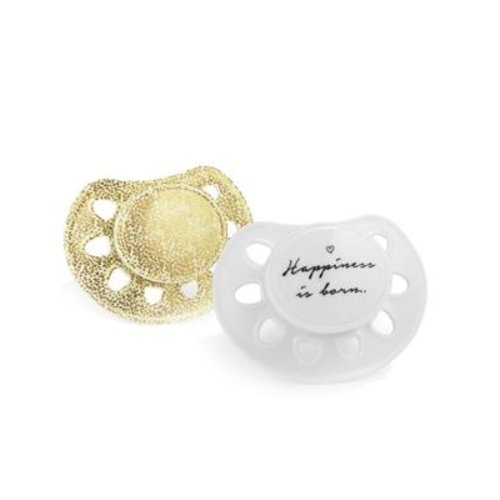 Elodie Details Fopspeen Happiness is born/gold Newborn 2 Stuks