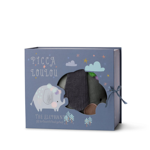 Picca LouLou Olifantje blauw grijs in gift box