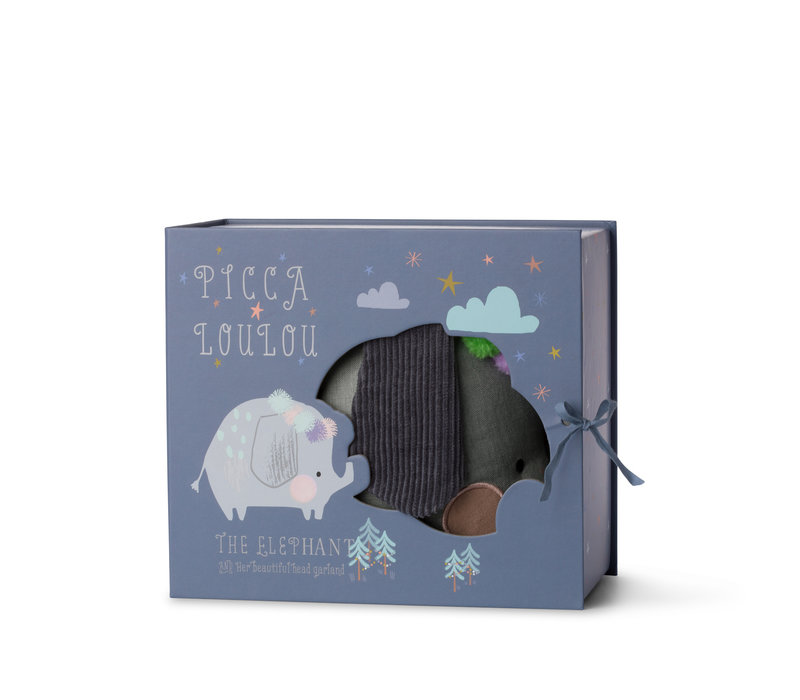 Olifantje blauw grijs in gift box