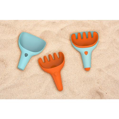Quut Strandspeelgoed Harkje en schepje blauw en oranje