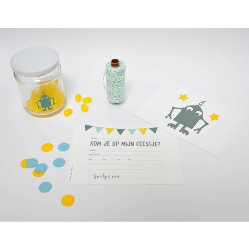 SuzyB Uitnodiging kinderverjaardag Robot 10 stuks