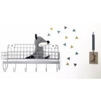 Vlaggenstickers voor op de muur, meubels of ramen mosterd/petrol/grijs