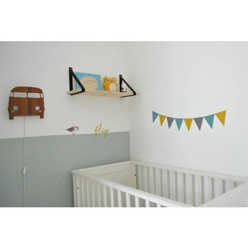 SuzyB Vlaggenstickers voor op de muur, meubels of ramen mosterd/petrol/grijs