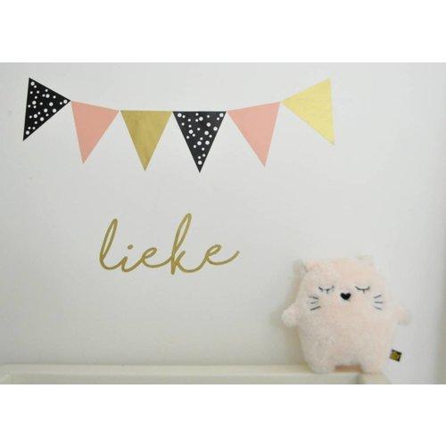 SuzyB Vlaggenstickers voor op de muur, meubels of ramen roze/zwart/goud