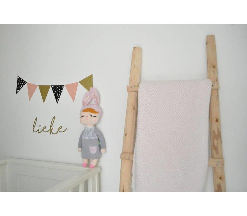 Vlaggenstickers voor op de muur, meubels of ramen roze/zwart/goud