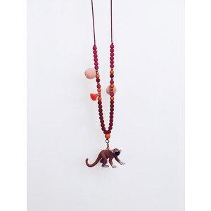 NJOOY Ketting rood met roze en oranje met aapje
