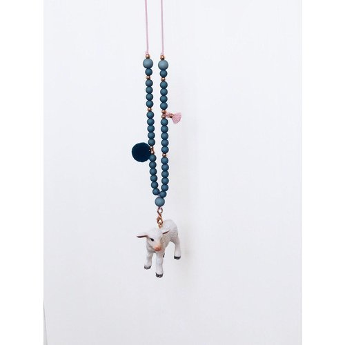 NJOOY Ketting pagode blauw met schaapje