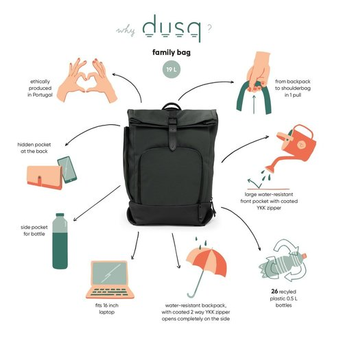 DUSQ Family Bag, Recycled PET Canvas, Night Black