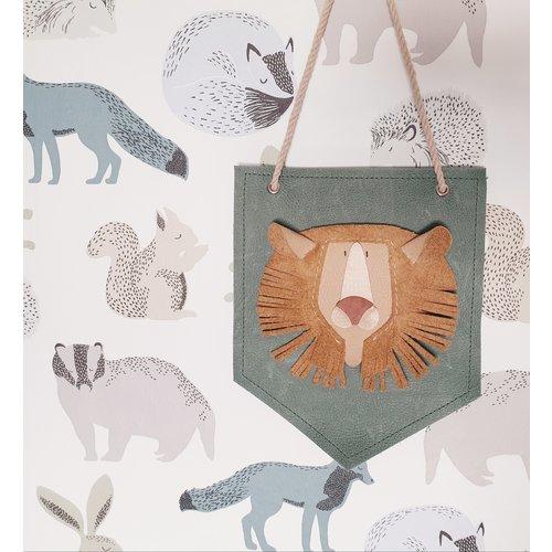 Atelier Ovive Wall Deco Leeuw: Naturel, Groenblauw